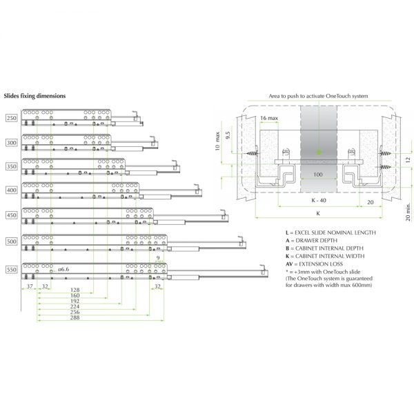 Slide N530, SINGLE EXTENSION, SLOW MOTION, 400mm – Pro Fitting Sistem
